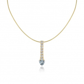18k Yellow Gold Diamond & Aquamarine Drop Pendant